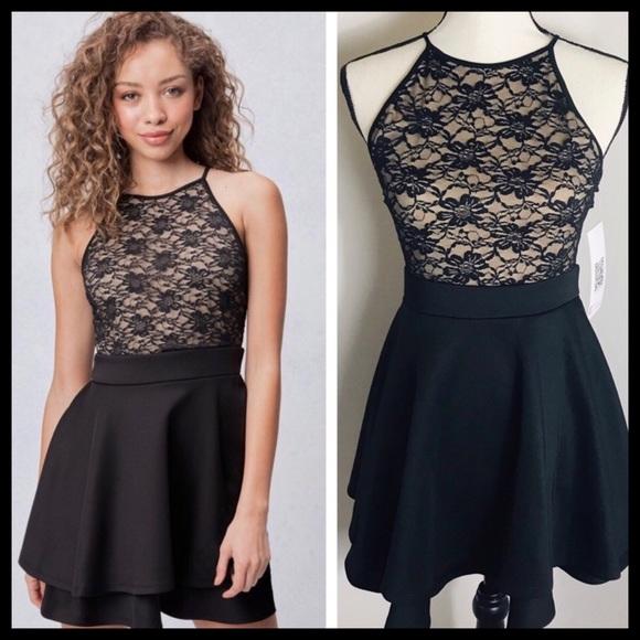 ee3fca521 Emerald Sundae Dresses | Tan Black Lace High Neck Dress | Poshmark